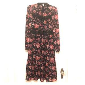 491b15c98a724 Nine West Dresses - Lace-trim floral chiffon midi dress